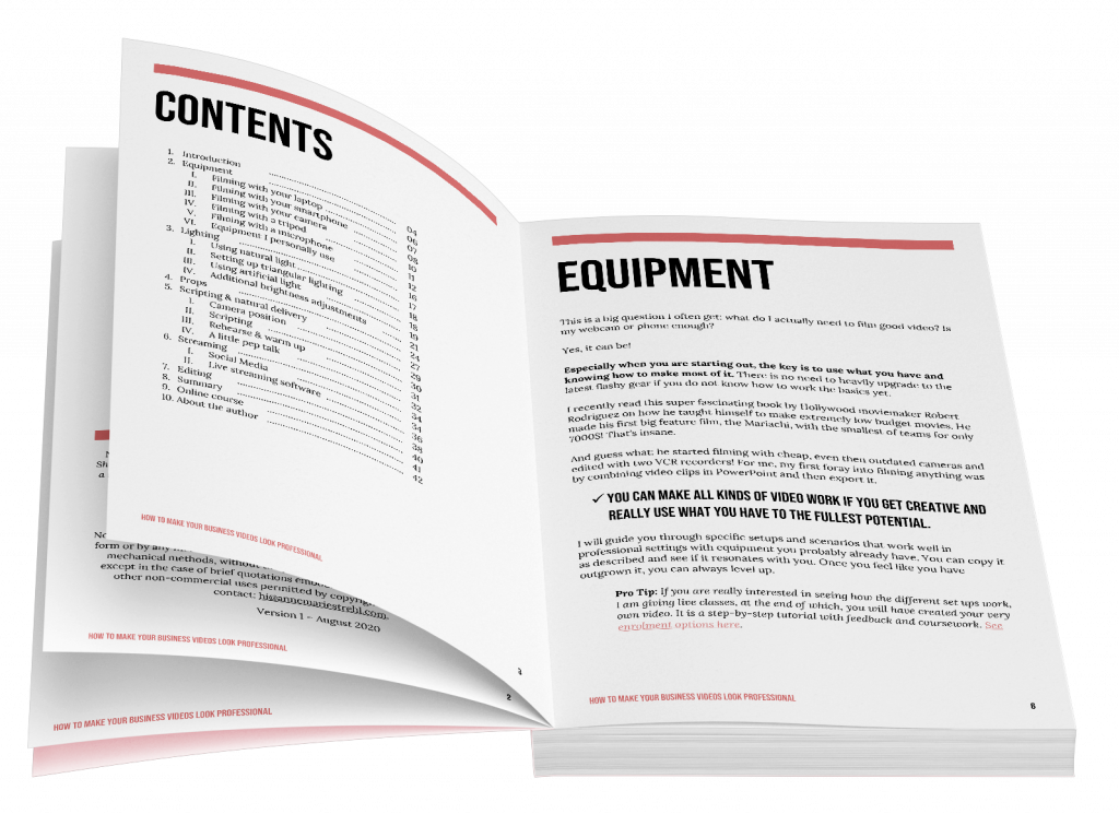 example pages of the digital guide to video essentials for business purposes